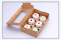 24 * 16 * 7.5 cm Papier kraft blanc 6 boîtes à cupcakes Bricolage cadeau de fête biscuits collation boîte de bonbons Cuisson des boîtes d'emballage 100pcs / lot