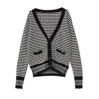Женские свитера оптом - высококачественный шерстяной свитер осень зима взлетно-посадочная полоса мода свободно негабаритный черный полосатый V-образным вырезом вязаный кардиган