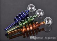 الجملة 20 قطعة / الوحدة bongglass الزجاج أنابيب الزجاج المنحني مواقد النفط مع أنابيب التدخين موازن المياه الملونة المختلفة