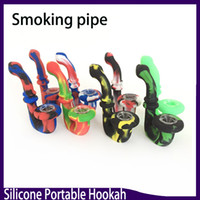 U-Shaped Portable Hookah Silicone Pipe Dry Herb Unbreakable Water Percolator Bong 11.5cm VS twisty glass blunt 0266161