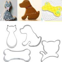 Cão de Gato de Aço Inoxidável Bone Cookie Cutter Fondant Ferramentas de Decoração Do Bolo de Açúcar Biscuit Sanduíche Moldes de Metal Ovo Molde de Cozinha Ferramenta