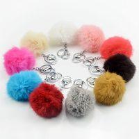 1 Stücke Mode Nette multicolor 8 cm Weiche Kaninchenfell Ball Silber Metall schlüsselanhänger Keychain Für Auto Tasche Schlüsselanhänger Anhänger zubehör