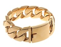 26MM Heavy Thick Gold Tone Gold Plated Mens Boys Cuban Curb ...