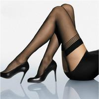 All'ingrosso-Moda Donna Nero Sexy Top Stripe Stay Up coscia alta calza collant calza collant T3
