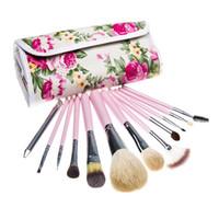 2015 nouvelle mode 12 PCs maquillage de poils de chèvre brosse kits de maquillage professionnel cosmétique maquillage du visage brosses Set outils avec rose sac de fleurs