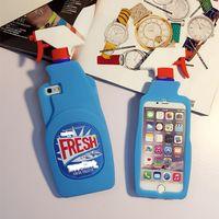 Fresh Couture Fragrance Cleaning Hellblaue Sprühflasche Silikonhülle aus weichem Gummi für iPhone 5 6 6S Plus 7 7 Plus 8 8 8 PLUS X