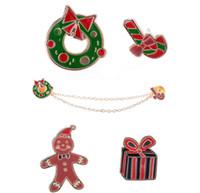Hot Cute Snow hombre caja de regalo Stud Blusa Camisas Cuello Clip Cuello Punta Broche Pin Cadena Para Navidad Regalo de Navidad Venta al por mayor 12 Unids