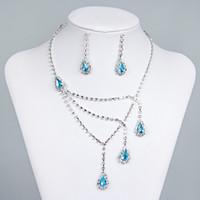 15015A auf Lager einzigartiger beliebter Hochzeitsbraut oder Brautjungfern Strass Halskette Ohrringe Silber Schmuck Set Prom