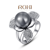 Moda nuovo elegante nero perla austriaco fiore di cristallo anello di fidanzamento di nozze platino anello gioielli moda A052