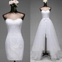 Wunderschöne zwei in einem Brautkleid mit abnehmbarem Rock Short Mini Lace Kleider langen Tüll Überrock Günstige hochwertige Brautkleider