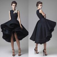 Krikor Jabotian Prom Kleider Handgemachte Blume Jewel Neck Schwarz Knielangen Formale Abendkleider Sleeveless Red Carpet Party Dress