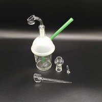 Sandblasted bong Cup Glass Water Pipe Bubbler Hand Blown Gla...