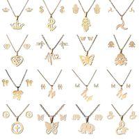 16 estilos 316L conjunto de jóias de aço inoxidável coroa crânio borboleta elefante coração pingente colar brinco para as mulheres moda jóias