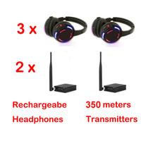 Silent Disco Headphones x3 avec 2 canaux Système de négociation sans fil - Sans fil RF pour iPod MP3, musique DJ