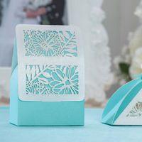 Романтическая свадебная подарочная сумка для вечеринки для вечеринки поставляет синие элегантные роскошные украшения лазерные вырезать сладкие благополучие бумаги конфеты для гостя