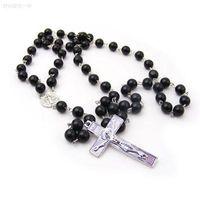 Necklaces Men Women Cross Pendant Black Rosary Beads New Fashion Statement Necklace Beckham Body Women Men Cross Chains Necklaces & Pendants
