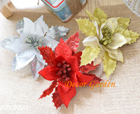 17cm 3Colors Silk Christmas Flower Head Holiday Gift Artific...
