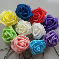 100 pcs Artificial Flowers Rose 8cm Foam Flowers For Bridal ...
