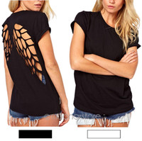 Al por mayor-2016 nuevo popular Casual Womens Punk Laser Backless Hollow Angel Wings Cut Out Tops T-shirt