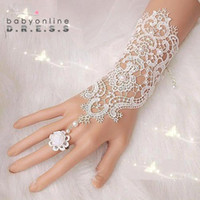 2015 Free Shipping High Quality Lace Bridal Gloves Fingerless Elbow Length Pearls Flower Clips Elegant Wedding Gloves