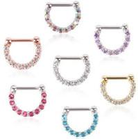 Nase Clicker Body Piercing Schmuck weiß / pink / blau / lila / Stahl / Gold Vakuum Plattierung Nase Septum 10pcs / lot