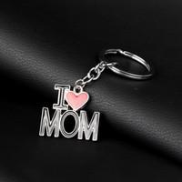 Я люблю папу мама брелок буква сердца ключевые кольца держатели сумка висит мода ювелирные изделия для материнского отца день рождения подарок будет и песчаник