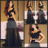 robe de soiree elegante dois pedaços longos vestidos de baile 2018 Sweetheart fora ombro preto tule vestidos de noite sexy vestido de festa