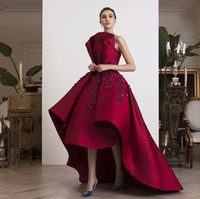 Fashion Deep Red Prom Dresses Sparkle Beaded Applique Sleeveless Hi-Lo Red Carpet Dress Glamorous Satin Evening Dresses Women Formal Wear