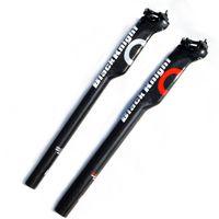 Cavaleiro preto completo de fibra de carbono estrada bicicleta selim mtb peças da bicicleta assento espigão 27.2 30.8 31.6 * 350 400mm matte aero baixo arrasto