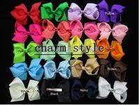 Hoquillas de cinta Grosgrain grande de 6 pulgadas, accesorios para el cabello de las niñas con clip, Boutique Pelo Bows Horquillas-40pcs-