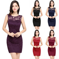 2018 New Little Black Red Lace Cocktail Dresses Sheath Crew ...