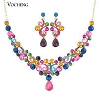 컬러 아트! 빈티지 디자인 3Color 오스트리아 크리스탈 목걸이 귀걸이 쥬얼리 세트 (Vs-168) Vocheng Jewelry