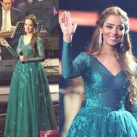 С длинным рукавом зеленый вечерние платья 2015 с бисером аппликации длина пола тюль Джерси Ближнего Востока знаменитости платья