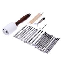 25 pçs / set ferramentas de aço inoxidável ofício escultura em couro faca de lâmina de carimbo selo kit embossing beveler diy leathercraft embosser