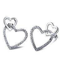 Liebe Herz Ohrringe pflastern mit Zirkonia Kristall Ohrringe Frauen Ohrringe 2015 neue weiße Goldplatte