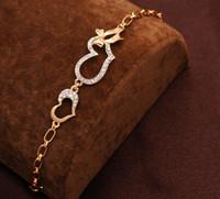 de alta qualidade Mulheres Ouro 18k brilho Cheio cristal austríaco Pulseiras Bangles forma de coração mulheres pulseira jóias