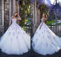 2021 Neue Brautkleider Schatz Illusion Lavendel Spitze Applique Perlen Lange Ärmel Knopf Zurück Gericht Zug Plus Größe Formale Brautkleider