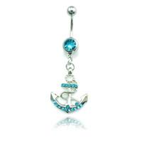 Moda anelli ombelico in acciaio inox ciondola 4 colori strass anchor sexy gioielli body piercing all'ombelico