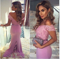 Hot Sexy Off Shoulder Long Evening Dresses Lace Chiffon Floo...