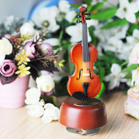 Wood Classical Wind Up Violin Music Box With Rotating Musica...