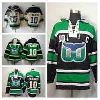 2016 Nouveau, en gros 10 Ron Francis Hooded Men 's Beige Vert Hartford Whalers Hockey À Capuche Ice Francis Pull Sweat H