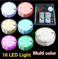 Holiday Light iluminación led sumergible con control remoto Multicolor 10 bombilla led para banquete de boda Luces de velas a prueba de agua Lámpara de decoración