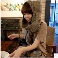 Al por mayor-Nuevas mujeres de invierno conjoined bufanda Hat Knitting Hat cumpleaños / regalo de Navidad 9037