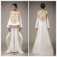 2019 langarm Dubai Arabische Kleider Elegante Nahen Osten Abendkleider Weißes Abendhemen ohne Hose