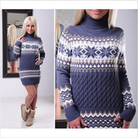 2017 Casual Print Twist Knitted Sweater Turtle Neck Long Sle...