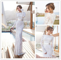 Long Sleeves Wedding Dresses Jewel Neck Lace Applique Sash M...