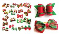 50pcs Factory Sale Christmas Pet Dog Hair Bows bowknot hairp...