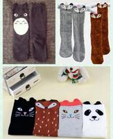 Crianças Cartoon Totoro Fox Panda Long Socks 2015 Novo Adorável Meninas Meninas 35cm Meias dos Desenhos Animados 6 Cores