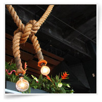 Hemp rope pendant light bar decoration bronze hanging light ...