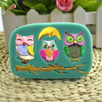 Cartoon Moon Owl fondant sugar craft cake mold moldes silico...